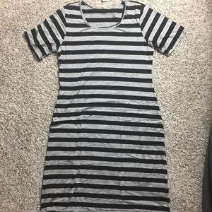 Honey & lace XL Auburn Dress black grey striped